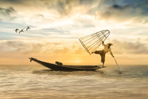 Fisherman Fishing Boat Wallpaper