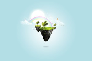 Floating Rainbow Island Wallpaper