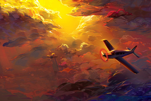 Flying Plane In Clouds Artwork HD Wallpaper