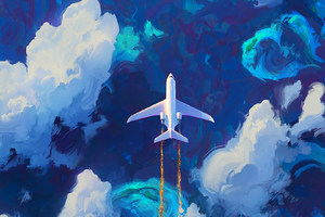Flying Plane In Clouds Artwork Wallpaper