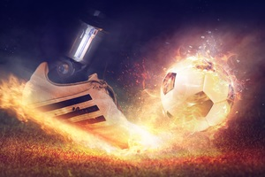 Football Shoe Fire Smoke 5k Wallpaper