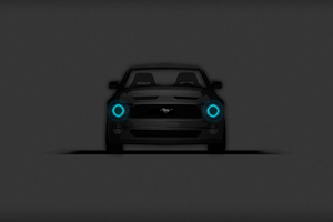 Ford Mustang Minimalistic Dark Wallpaper
