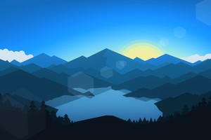 Forest Mountains Sunset Cool Weather Minimalism Wallpaper