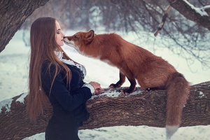 Fox With Girl Depth Of Field Wallpaper