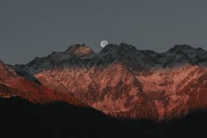 Full Moon Behind Mountain Dark Evening Late Sunset 5k Wallpaper