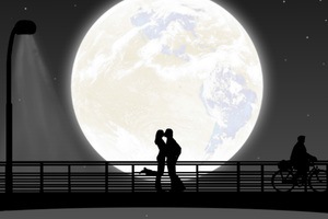 Full Moon Night Couple Kiss Wallpaper