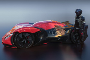 Futuristic Sport Car Driver Standing Behind The Car Artwork Wallpaper