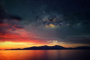 Galaxy Blended Landscape Mountains Sunset Wallpaper