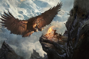 Giant Eagle Vs Knight Mage Mountains Fantasy Landscape Wallpaper