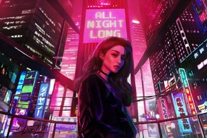 Girl All Night Long Retrowave City Artwork