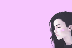 Girl Artwork Pink Background Wallpaper