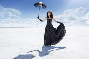 Girl Black Dress Umbrella