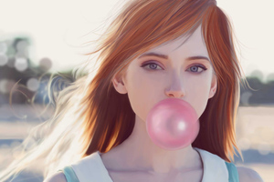 Girl Blowing Bubble Gum Wallpaper