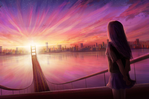 Girl Bridge Cityscape Digital Art 4k Wallpaper