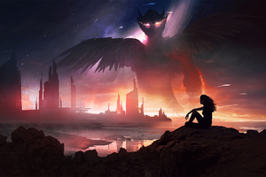Girl Holding Cigarette Dragon Night Crawling Wallpaper
