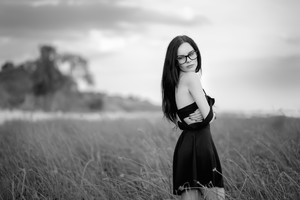 Girl In Black Dress Monochrome