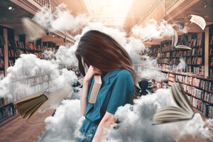 Girl In Library Wallpaper