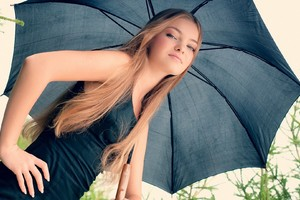 Girl In Umbrella Dress Wallpaper