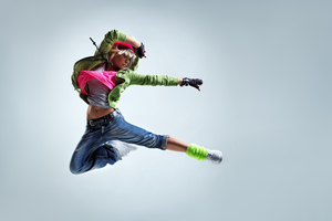 Girl Jumping Kick 5k Wallpaper