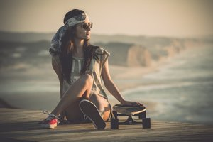 Girl On Beach With Skateboard Wallpaper