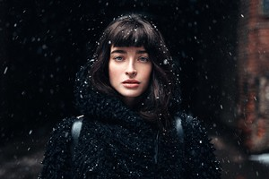Girl Standing In Snow