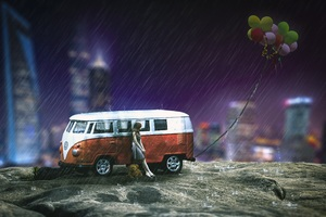 Girl Volkswagen Teddy Bear Balloon City Fantasy Artwork Wallpaper