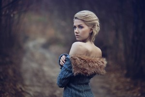 Girl Wearing Fur Coat