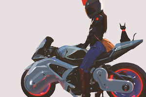 Girl With Modified Bike Cat Artwork Wallpaper