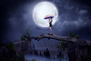 Girl With Umbrella Big Moon Digital Art 5k Wallpaper