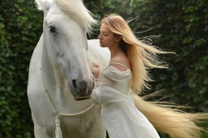 Girl With White Horse 5k Wallpaper
