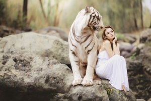 Girl With White Tiger 5k Wallpaper