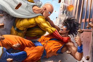 Goku And One Punch Man 5k Art Wallpaper