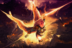 Gold Angel Fantasy Girl With Wings 4k