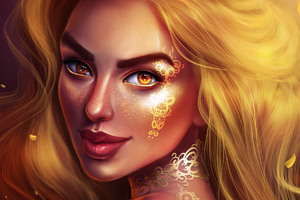 Golden Fantasy Girl Portrait Wallpaper