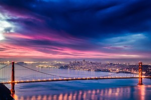 Golden Gate Bridge Sunset Night Time 4k Hd Wallpaper