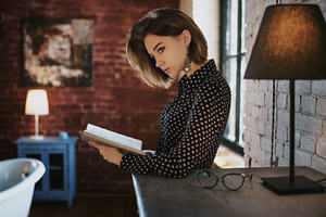Gorgeous Girl With Book Looking Away