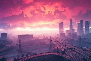 Grand Theft Auto V Sunset Artwork Wallpaper