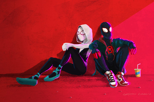 Gwen And Miles Chillin Wallpaper