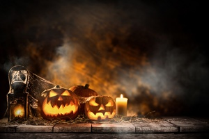 Halloween Candle And Pumpkins Wallpaper