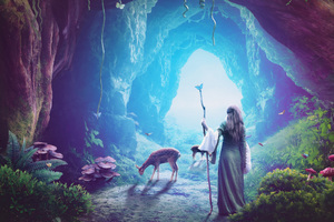 Heaven Cave Girl Deer Fantasy Art