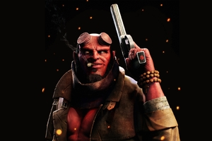 Hellboy Smoking Cigarette With Gun Wallpaper