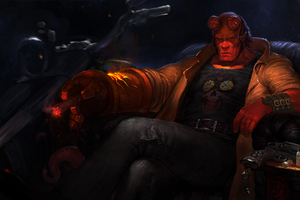 Hellboy With Bike Art Wallpaper