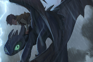 Hiccup And Toothless Digital Art Wallpaper