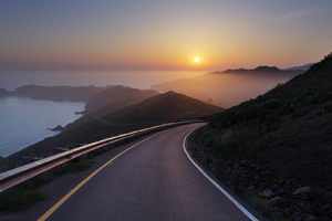 Hill Road Sunset Wallpaper