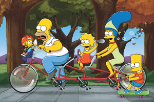 Homer Marge Bart Lisa The Simpsons Family 4k 5k Wallpaper