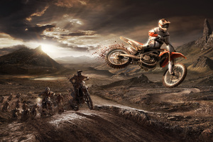 HONDA CRF 450R Riders Jumping From The Sand Mud