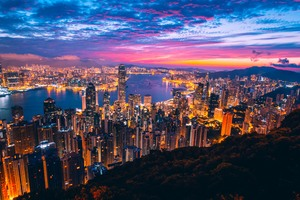 Hong Kong City View Buildings Light Night Wallpaper