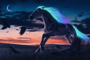 Horse Magic Moon Digital Art