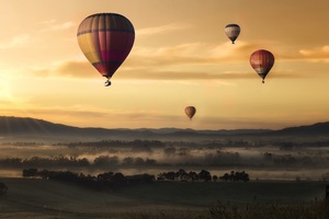 Hot Air Balloons Floating 5k Wallpaper