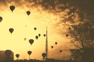 Hot Air Balloons Tower Orange Contrast Clouds 5k